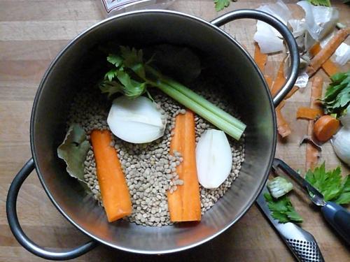 lentils in pan