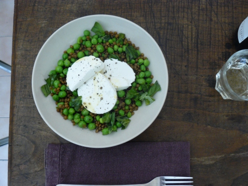 peas, lentils and goats cheese 1