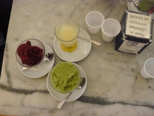 granita limone, gelsi and pistaccio