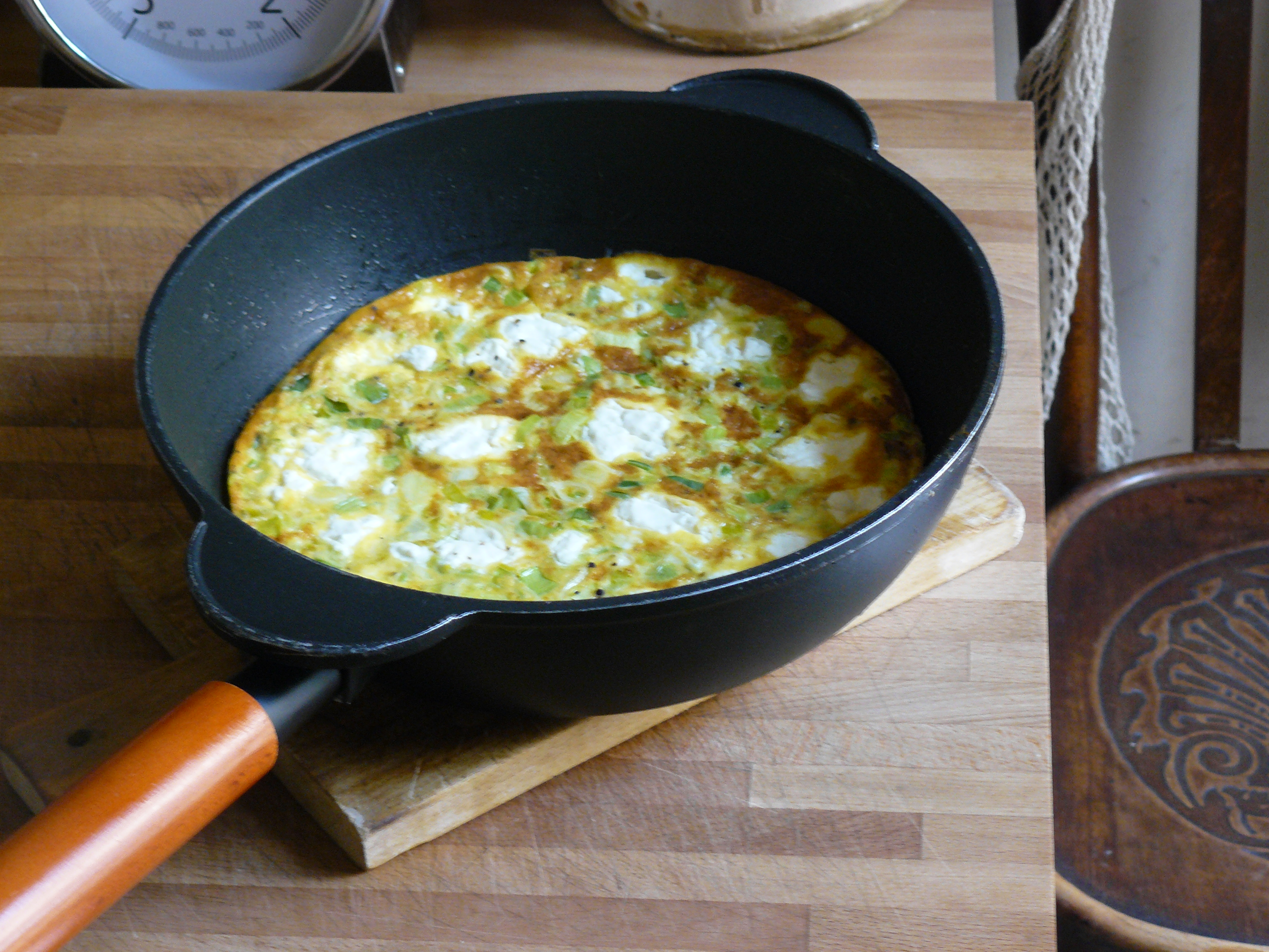 Then on Wednesday, yesterday, I made a leek and goats cheese frittata.