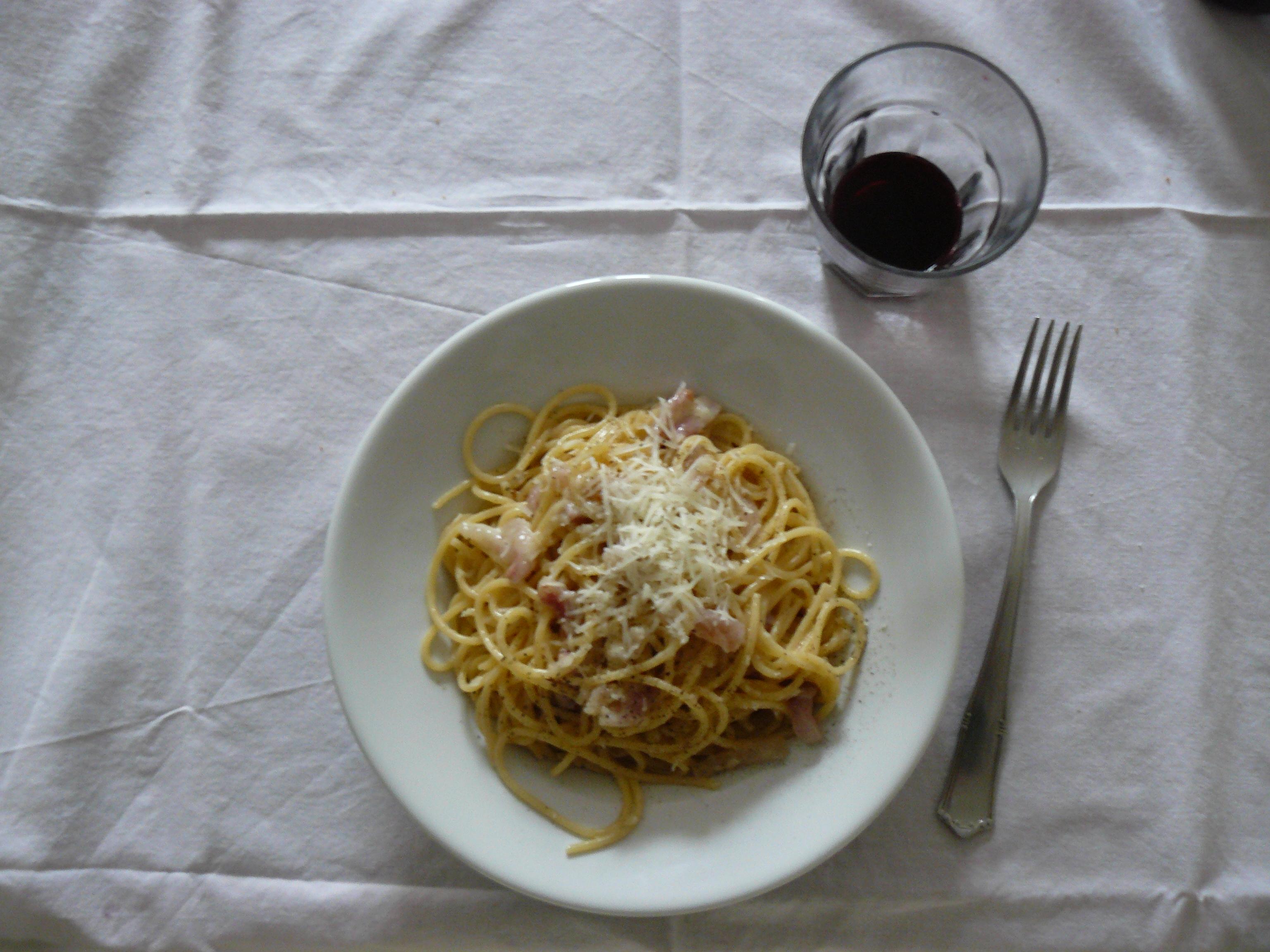 pasta guanciale cooking water pecorino romano and black pepper alla